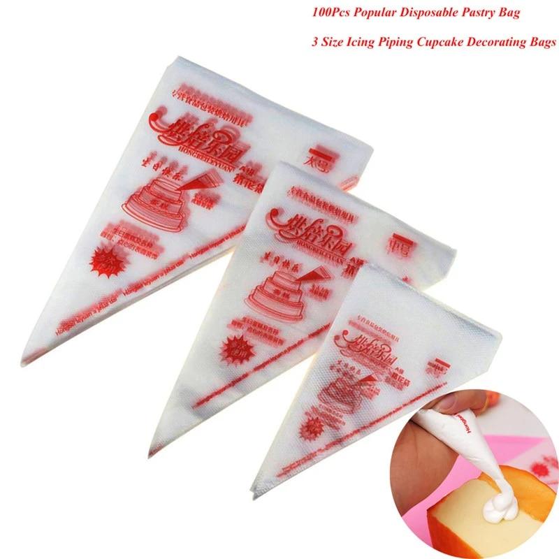 Pastry Bags Piping Bag 100pcs Tool Icing Cream Baking Fondant Cake Decorating