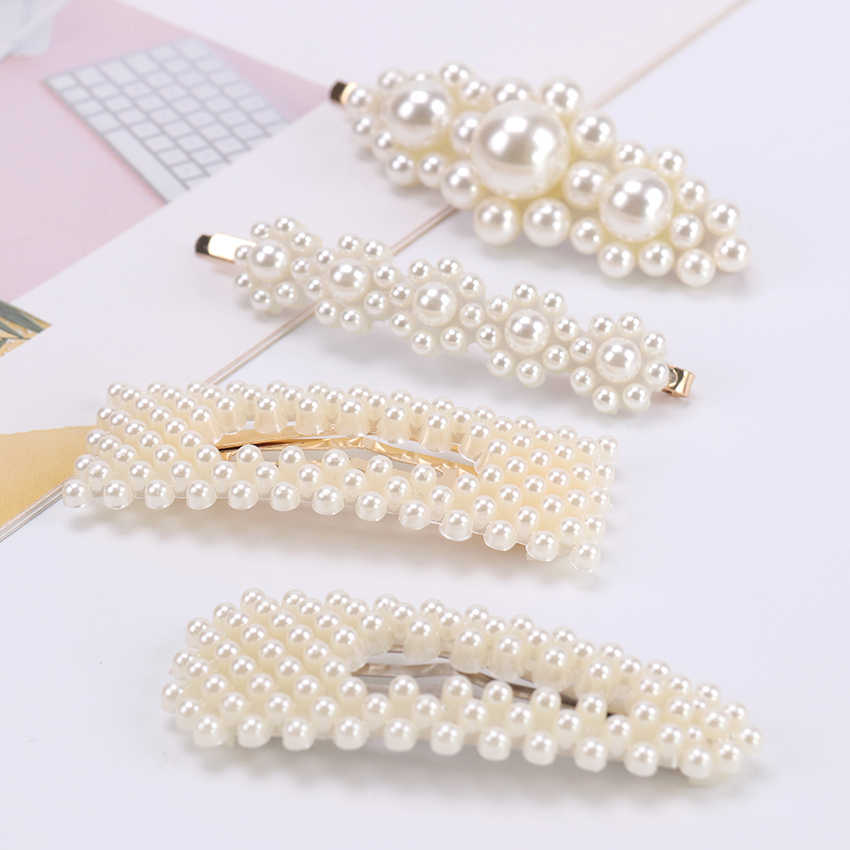 1PC Full Pearls Hair Clips For Women Fashion Sweet Imitation Korean Style Hair Pins Alloy BB Hairgrip Girls Hair Accessories