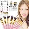 10 Unids Pro maquillaje Cepillos Fundación Colorete Powder Herramienta Pinceles Set de Seis Colores