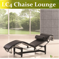 U BEST LC4 Cassina Steel Frame LC4 Lounge Sitting Black Leather Lounge VILLA CHURCH Chaise Longue