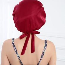 Высокое качество Шелк Спальный Кепки Мягкий Шелковый ночной сон Кепки спальный шляпу капот Бургундия пижамы с галстуком регулируемый