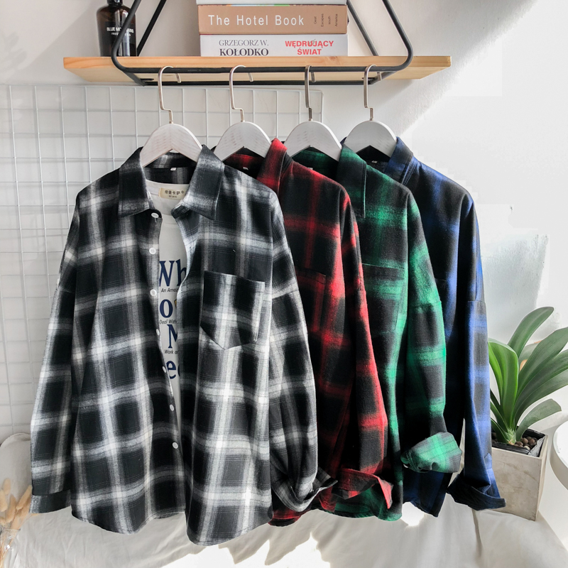 Privathinker Men Plaid Shirts INS Style 2019 Man White Red Black Plaid Long Sleeve Shirts Male Oversized Top Shirt Plus Size