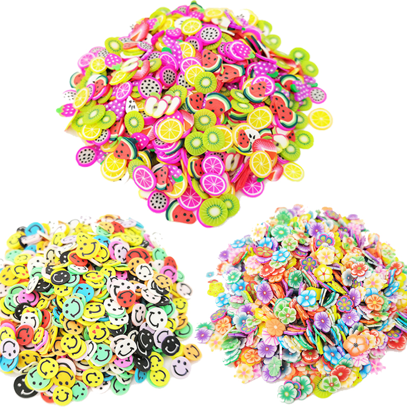 1000Pcs Soft Pottery Slime Fruit Slice Smiley Face Flower Filler Nails Art Tips Slime Fruit For Kids Lizun DIY Slime Accessories in Modeling Clay from Toys Hobbies