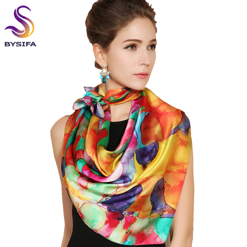 [BYSIFA] Trendy Women 100% Silk Neck   Scarf   Cape New Brand Autumn Winter Colorful Female Ladies Pure Silk   Scarves     Wraps   90*90cm