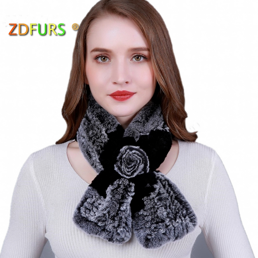 ZDFURS * Lovely Women Real Rex Rabbit Fur   Scarves   Rose Design Girls Natural Fur   scarf     Wraps   Winter Soft brand rabbit Muffler