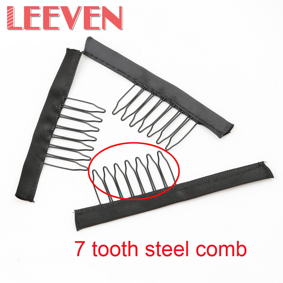 10-200Pcs/Lot Black Color 7 Teeth Wig Combs For Making Wigs Full Lace Wrap Accessories Styling Tools Top Quality Cheap Price