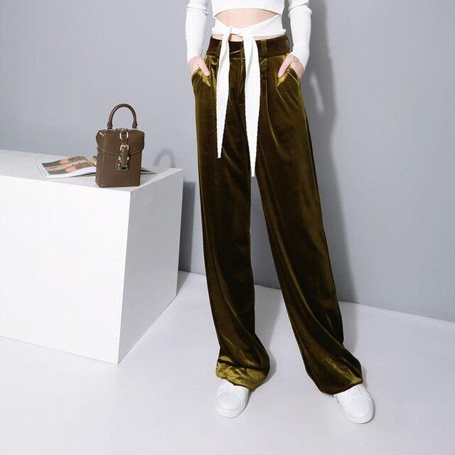 2016 New Fashion Women Autumn Long Pants Velvet High Waist Wide Leg Trousers Woman Winter Mopping the Floor Pants