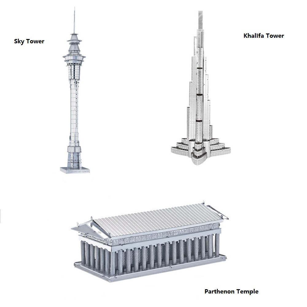 DIY metal model 3D Model Kits Set of 3 buildings Sky Tower Burj Tower Khalifa Tower