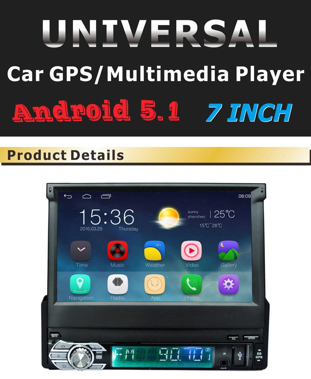 7 inch Capacitive Touch Screen Android 1 DIN Universal GPS Navigation Car Radio Stereo11 android 5