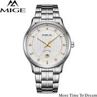 Mige 2017 New Hot Sale Lover Watch White Watchface Steel Watchband Waterproof Mans Clock Auto Date Quartz Movement Man Watches