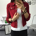Spring Autumn Women Double Breasted Jacket Ladies Long Sleeve Button Slim Fitted Cropped Top Casual Cardigan Coat Outerwear 2016