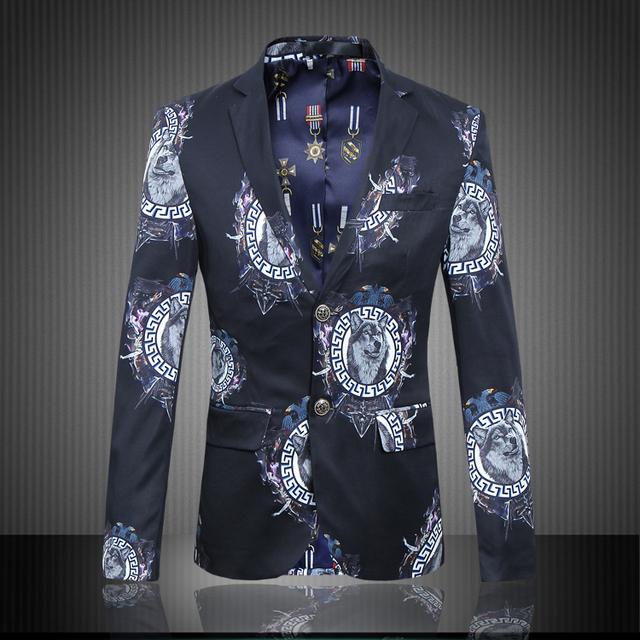 M-6XL 2016 Nuevo Estilo de la Alta Calidad Floral Chaqueta de Los Hombres de Impresión Ocasional BH02 Hombres Blazer Masculino Slim Fit Terno masculino
