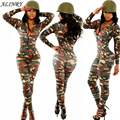 2017 New autumn and winter women 's army green deep-V pack hip camouflage sexy Bodysuit stitching zipper warm womens jumpsuit