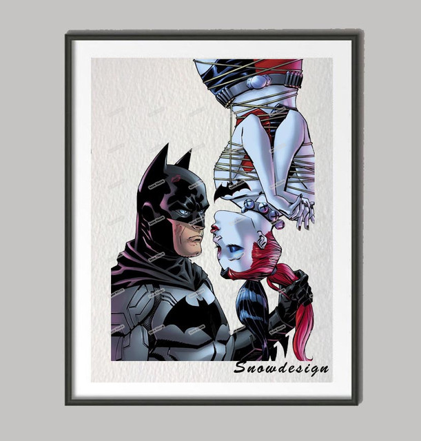 Batman Harley Quinn wall art canvas painting Movie poster print Pictures Living room Decor wall hanging sticker Valentines gifts