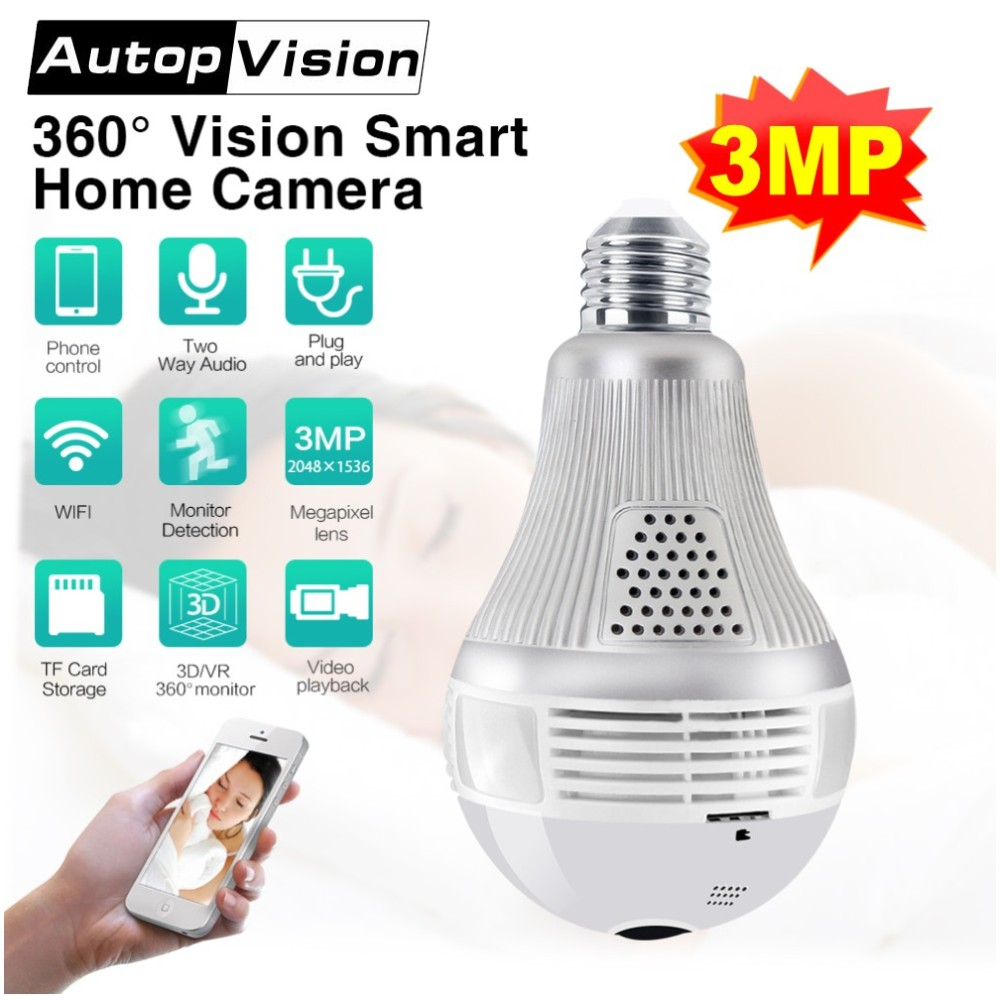 3MP Bulb Light Wireless Wifi ip Camera 360 Degree Panoramic Fisheye Home Security Surveillance Camera with Night Vision