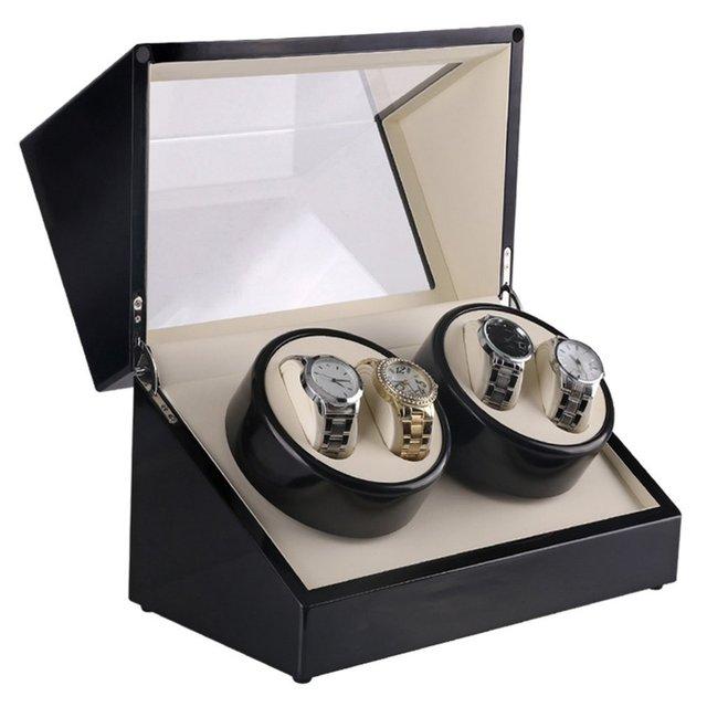 Reloj de lujo bobinadoras nos macho de 4 ranuras reloj de madera ataúd enrollador de reloj caja de laca girar silencioso Motor pantalla reloj titular 2019