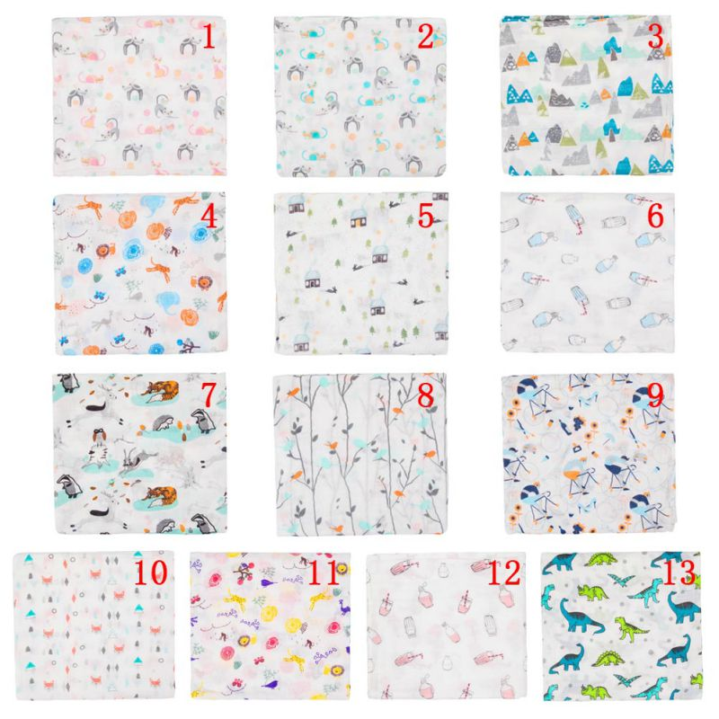 Baby 120*120cm Blanket Breathable Muslin Wrap Newborn soft cotton Bamboo Fiber Baby Swaddle Multifunction Muslin Bedding