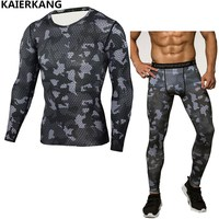 2017Muscle Men Compression Tight T Shirt Long Sleeves Double Sides Prints MMA Rashguard Fitness Base Layer