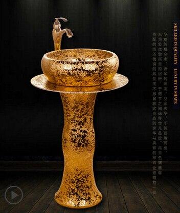 Estilo europeo de cerámica cuenca baño establece la columna lavabo contrario artístico magnífica piscina