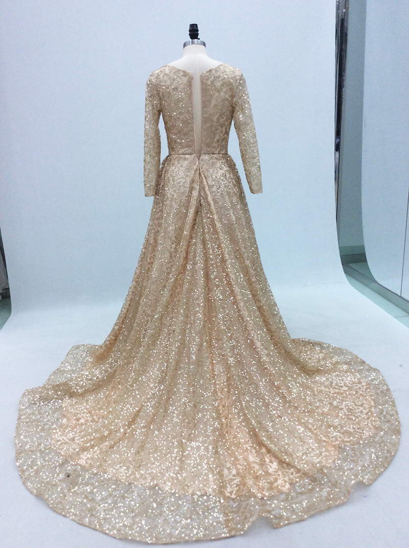 Βραδινά φορέματα Gold Long Evening Dress 2018 Glitter Sequins Long Sleeves  with Train Arabic Women Formal Party Gown Prom Dress Robe De Soiree 35180c1fa605