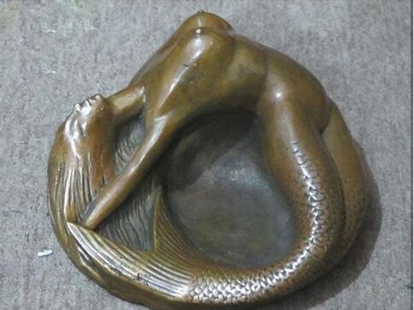 Pot à tabac statue d'art en Bronze petite sirène cendrier de beauté