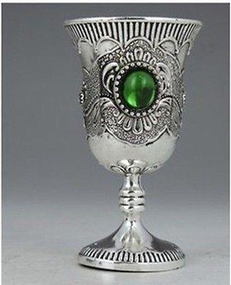 Ev ve Bahçe'ten Statü ve Heykelleri'de Çin Koleksiyon Tibet Gümüş Dekore İşi Kakma Jade Şarap Kupası dekorasyon Tibet Gümüş kelime Toptan 2 adet bronz title=