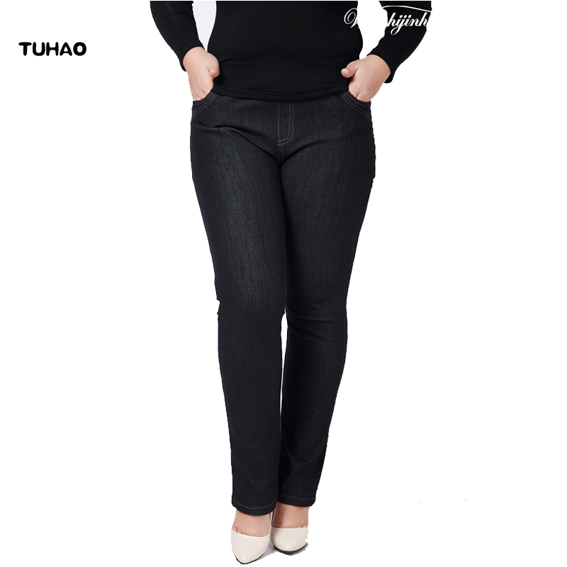 TUHAO High Waist Femme   Jeans   2018 spring summer office lady   Jeans   trousers for women Denim Pants Large Size 3XL 4XL pants YH05