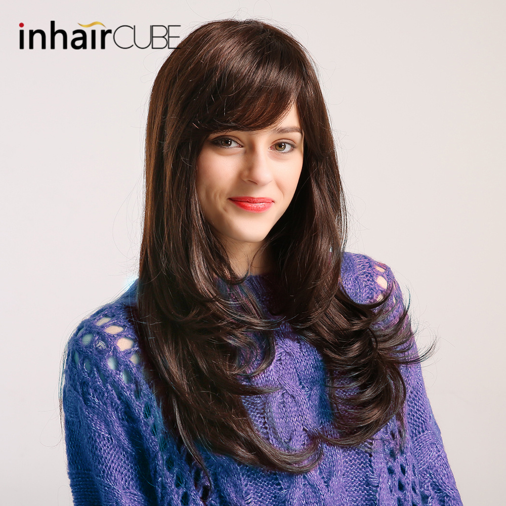 Inhair Cube 24 Blend Natural Synthetic Hair Wig Long Body Wave Black Wigs with Bangs for