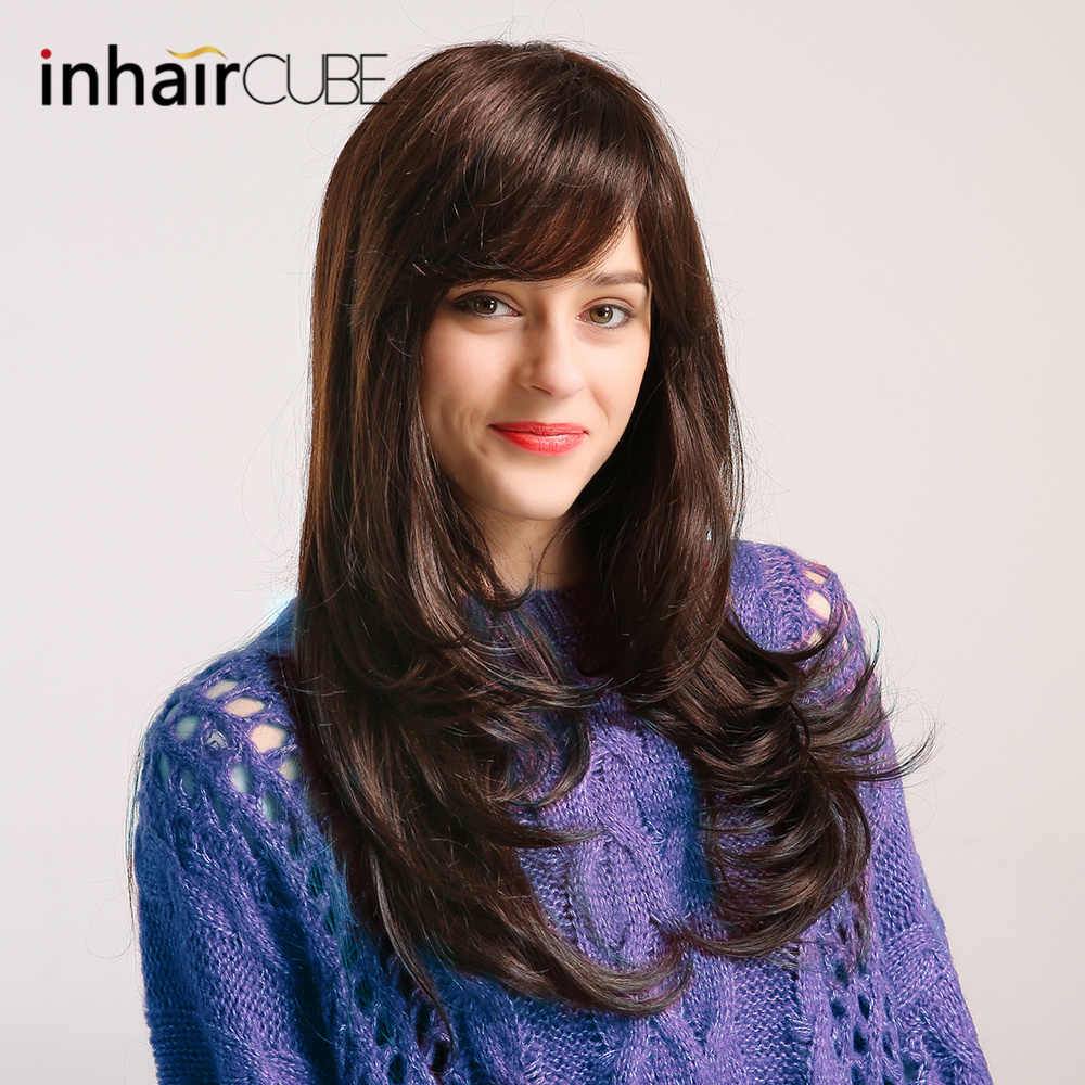 """Inhair Cube 24""""Blend Natural Synthetic Hair Wig Long Body Wave Black Wigs with Bangs for White Women Imitation Top Wigs"""