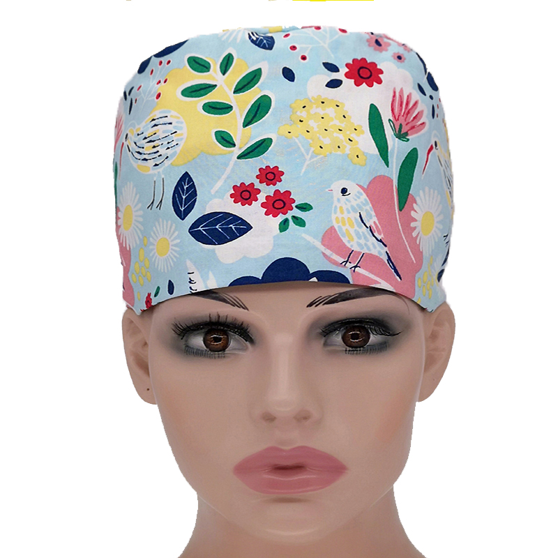 Unisex Medical Cap European And American Cotton Gray Red Owl Printing Surgical Cap Doctors Nurses Beautician Work Hat 2018