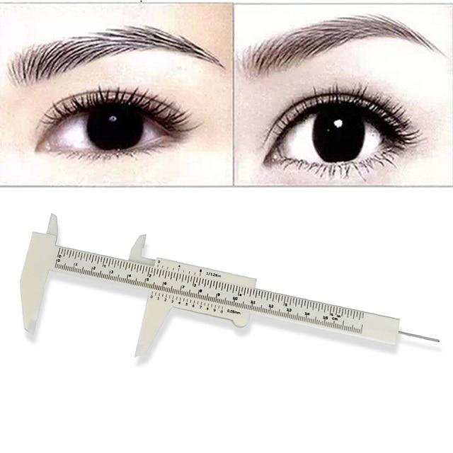 1 Pcs Double Scale Sliding Gauge EyebRow Ruler Permanent Makeup Eyebrow Tattoo Measuring Ruler Caliper Measure Tools New