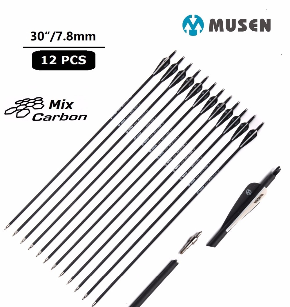 6/12/24pcs/lot 30/32 Inches Spine 500 Carbon Arrow With Black And White Color For Recurve/Compound Archery Bows Shooting