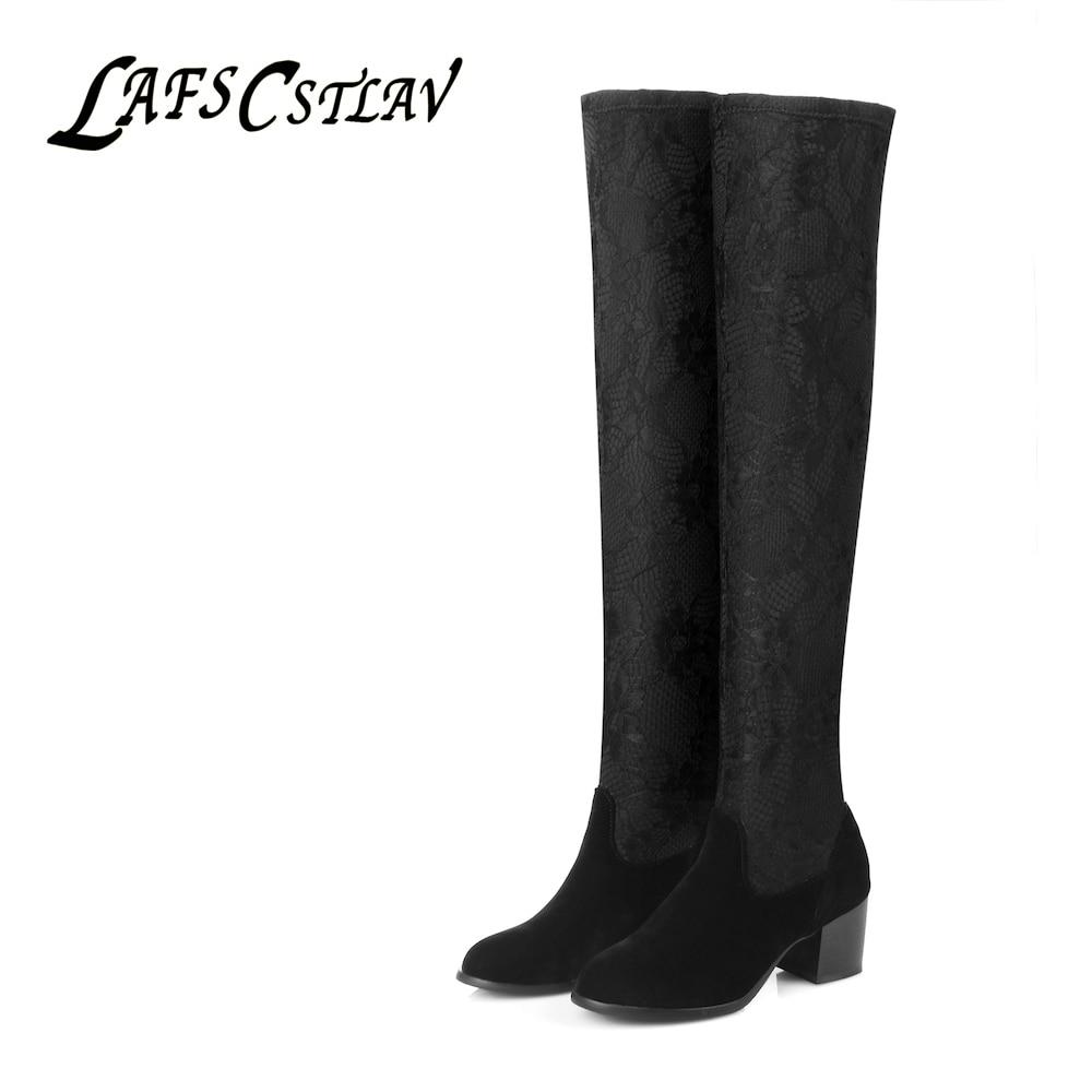 LAFS CSTLAV Over Knee Boots for Women Black Winter Stretch Fabric Socks Tall Winter Warm High Heel Boot Round Toe Knight Shoe