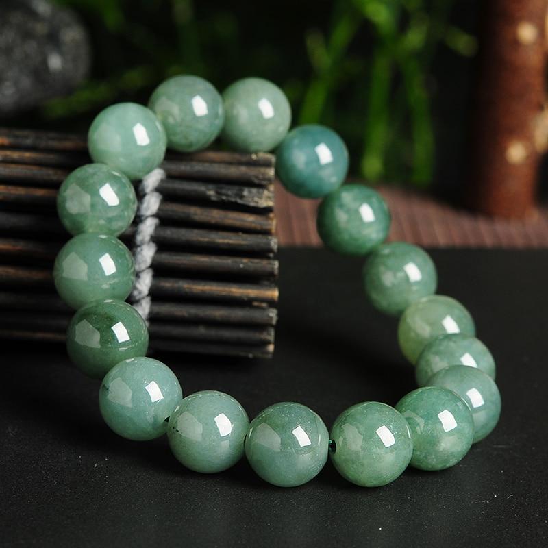 Jade Bracelet Beads: Genuine Natural Glutinous Jade Beads Round Bracelet