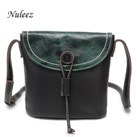 cb31a8f16247 Nuleez Genuine Leather Shoulder Handbags Women Cow Leather Messenger Bags  Bucket Crossbody Green Black Summer China