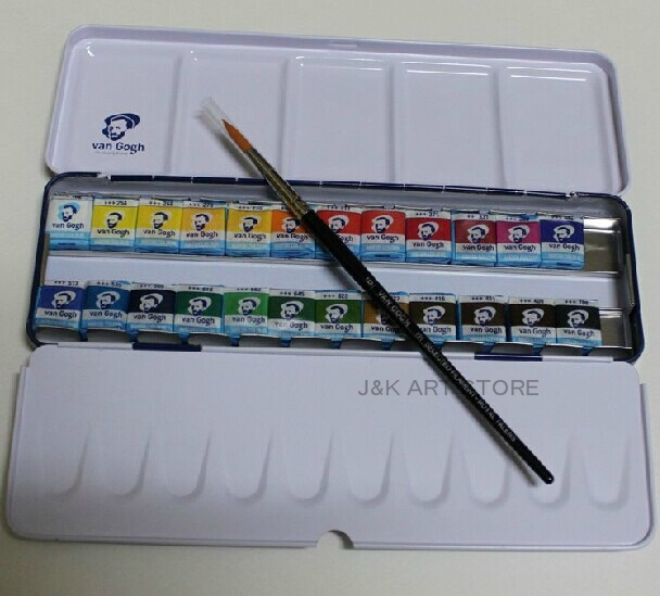 van gogh watercolor 24 color half pan pocketbox a brush included