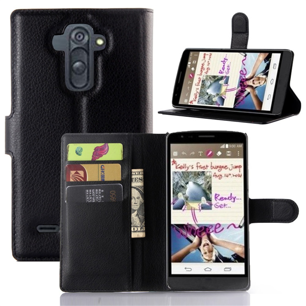 """For LG G4 Styus Cyboris cover For LG G4 Stylus/G Stylo/LS770 5.7"""" Case Flip Lichee Holster PU Leather with card slot holders"""