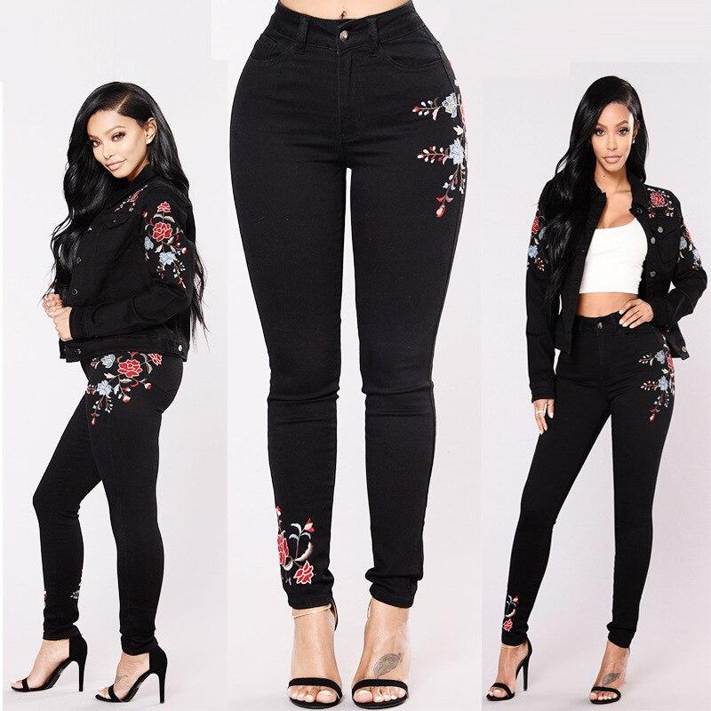 Floral Womens Alta Cintura Moda Lápiz Pantalones Skinny Bordado Jeans XYUYx7Fqw