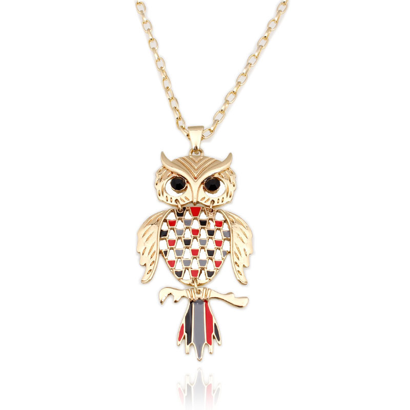 High Quality 80cm Owl pendant Necklaces Gold plated Fashion Jewelry Wholesale NK130036
