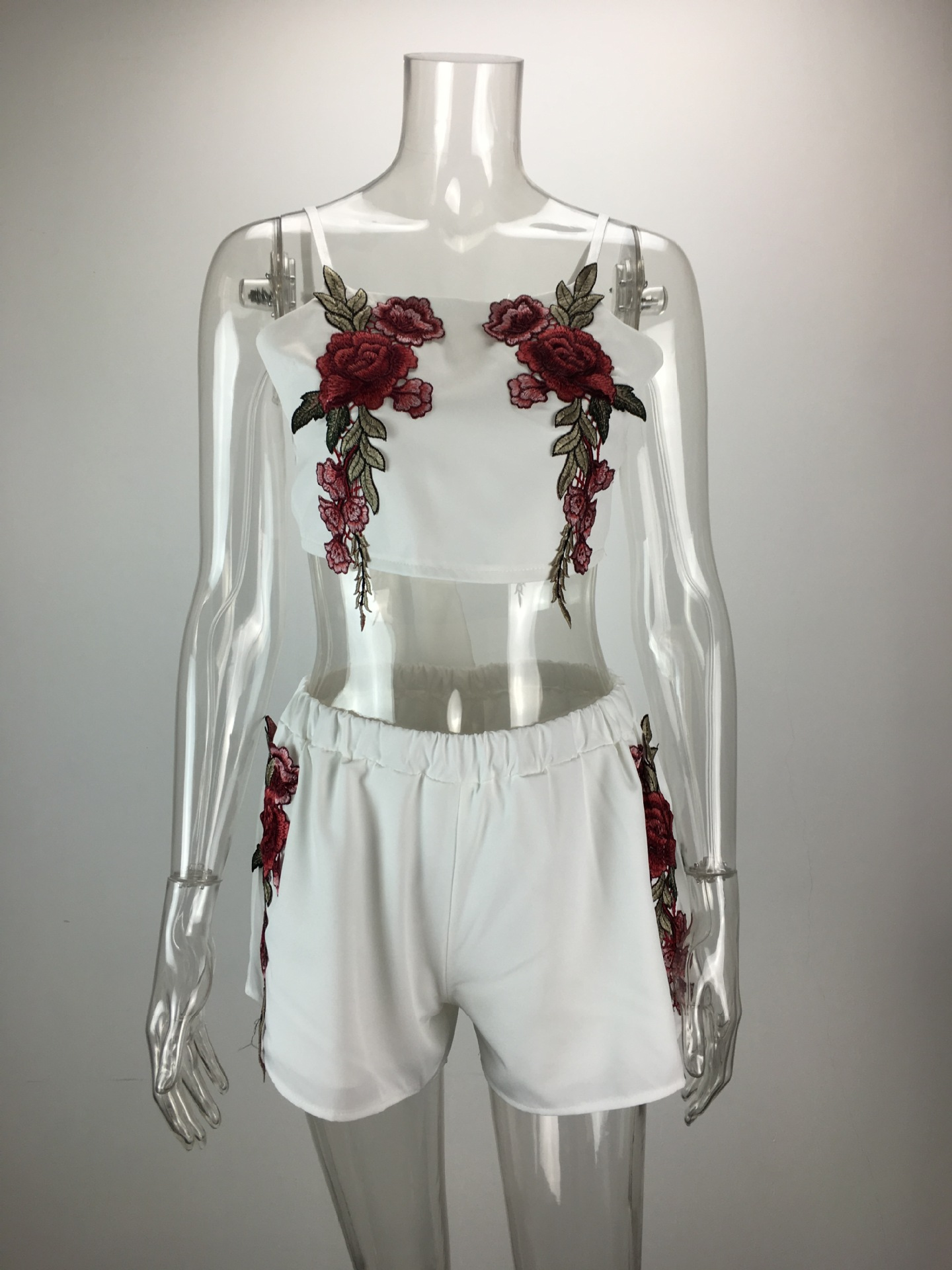 HTB1gyxORVXXXXaFXFXXq6xXFXXXR - Women Cropped Top Shorts Set Sexy Rose Floral Embroidered Cropped Top Short Set Female JKP015