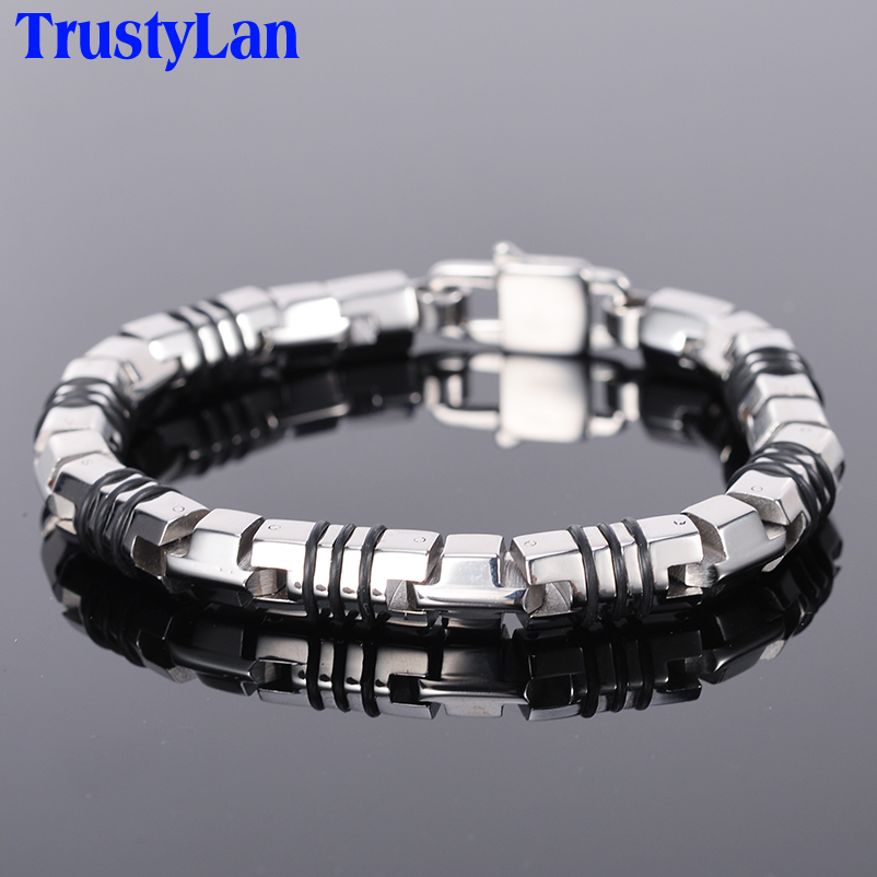 TrustyLan Punk Goth Rock Bracelet Men Cool Solid 316L Stainless Steel Mens Friendship Bracelets 2018 Jewelry Armband Heren Drop