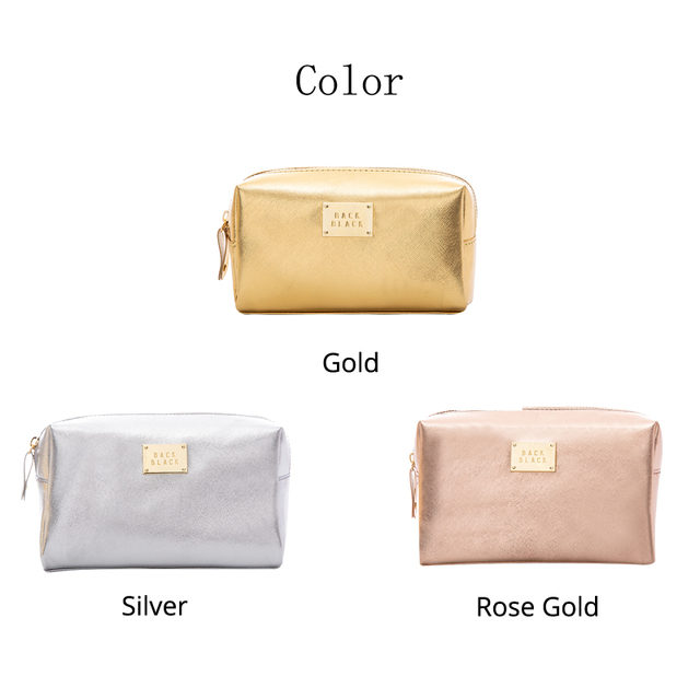 Women Cosmetic Bag For Makeup Pouch Female Portable Beauty Toiletry Travel Organizer Case Ladies Big Gold Silver Makeup Bag 2019 5
