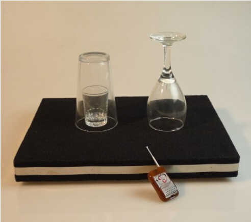 Remote control Glass Breaking table and coin into glass mat - magic trick,glass magic,accessories,gimmick