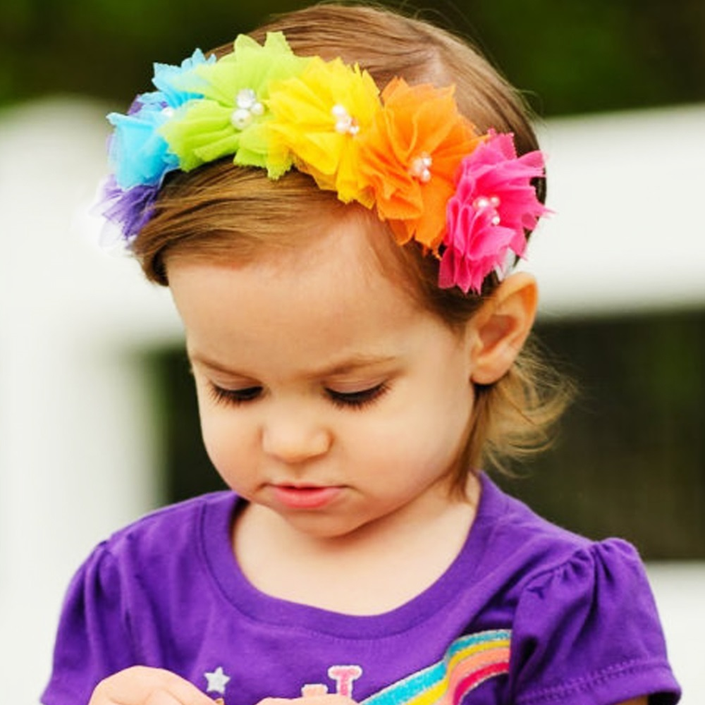 Rainbow color flowers headband Children baby girls hair accessories  Infant Toddler headwear bow 1pc HB539 bebe girls flower headband four felt rose flowers head band elastic hairbands rainbow headwear hair accessories