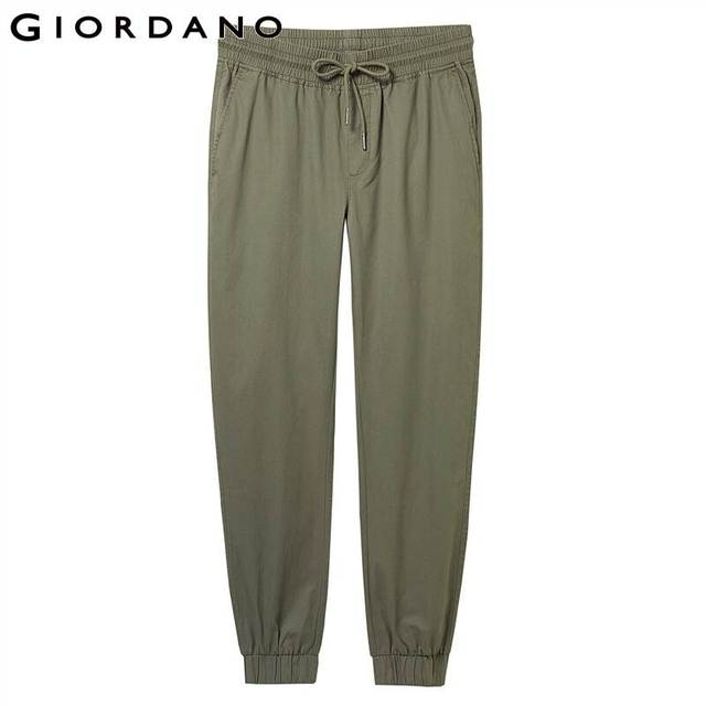 Giordano Men Pants Elastic Waistband Casual Pants Men Solid Twill Joggers Banded Cuffs Mens Trousers Pantalones Hombre 44