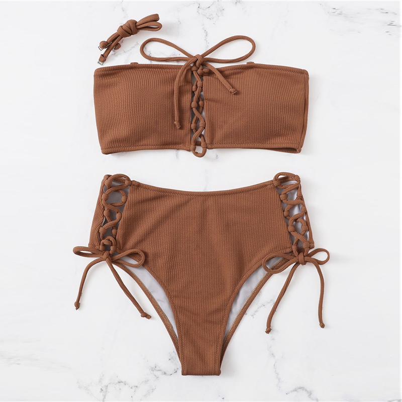 Top With Lace-up Bottoms Bikini Set 6
