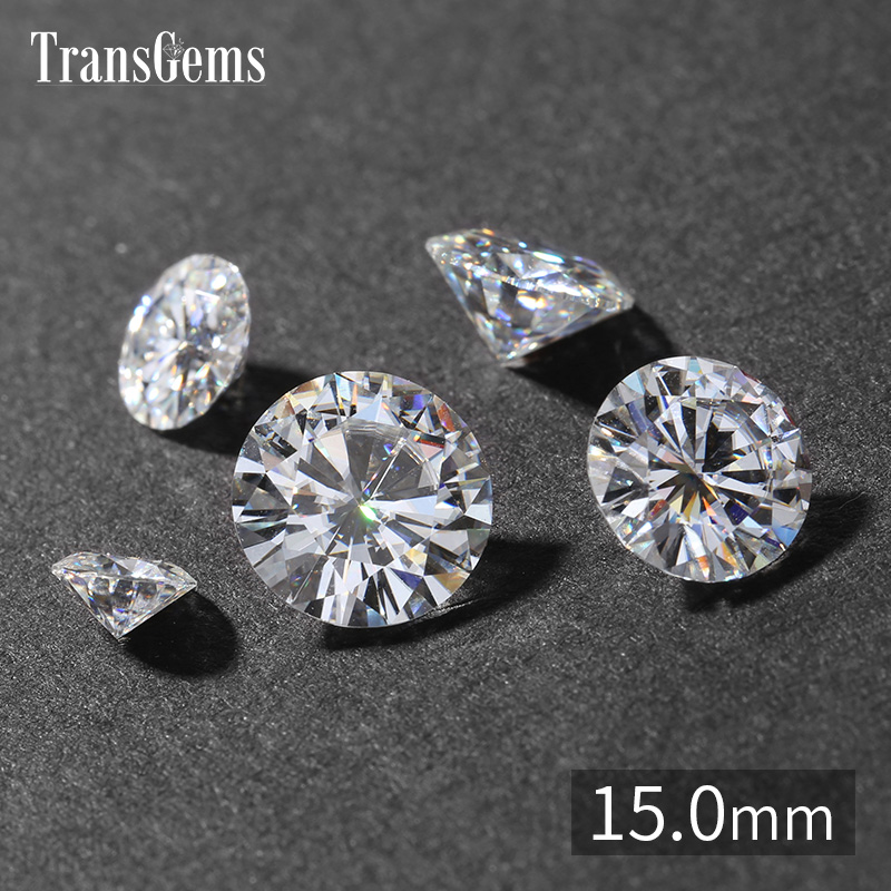 TransGems 14mm 10 Carat GH Color Certified Lab Grown Moissanite Diamond Loose Bead Test Positive As Real Diamond Gemstone genuine 18k 750 rose gold 1ct hearts arrows test positive lab grown moissanite diamond engagement pendant necklace chain women