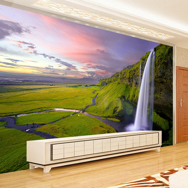 High Quality Custom 3D Photo Wallpaper Mural Papel De Parede Waterfall Scenery Nordic Modern Living Room TV Backdrop Wall Paper custom photo wallpaper high quality wallpaper personality style retro british letters large mural wall paper for living room