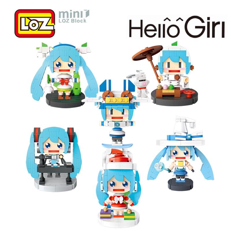 LOZ Hatsune Miku Musical Tea Art Christmas Skating Magic Miku Mini Building Blocks Toys Diy Model Toy for Children 6+ 1413 -1418