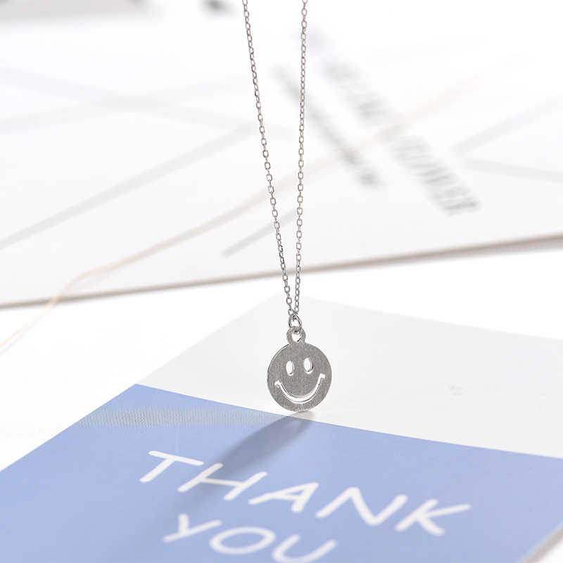 Smiley Face 925 Sterling Silver Necklace for Women Minimalist Cute Choker Expression Dangle chain Fashion Jewerly Mothers Day Gifts Christmas Happy Good Mood Berloque